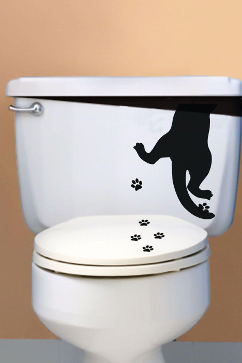 Vente stickers 15821 animaux sticker pattes de chat noir decorados - Deco wc noir et blanc ...