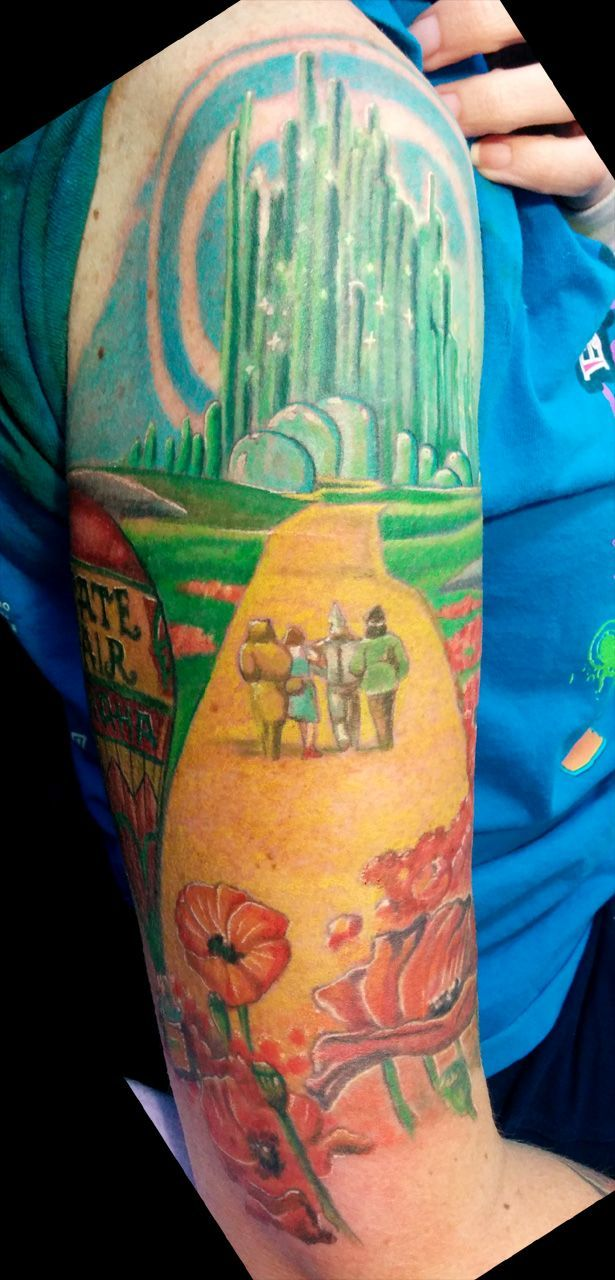 Color wizard of Oz tattoo on the arm.   Tattoos I did   Pinterest ...