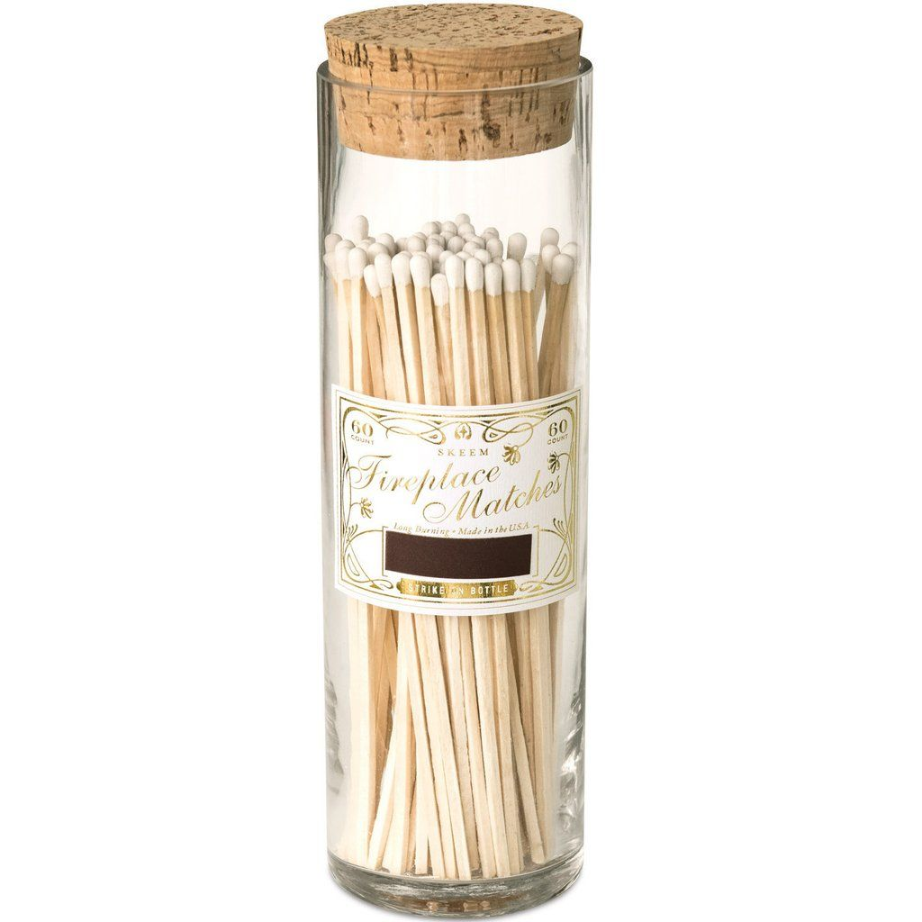 Superb Antique Bottled Long Fireplace Matches   White