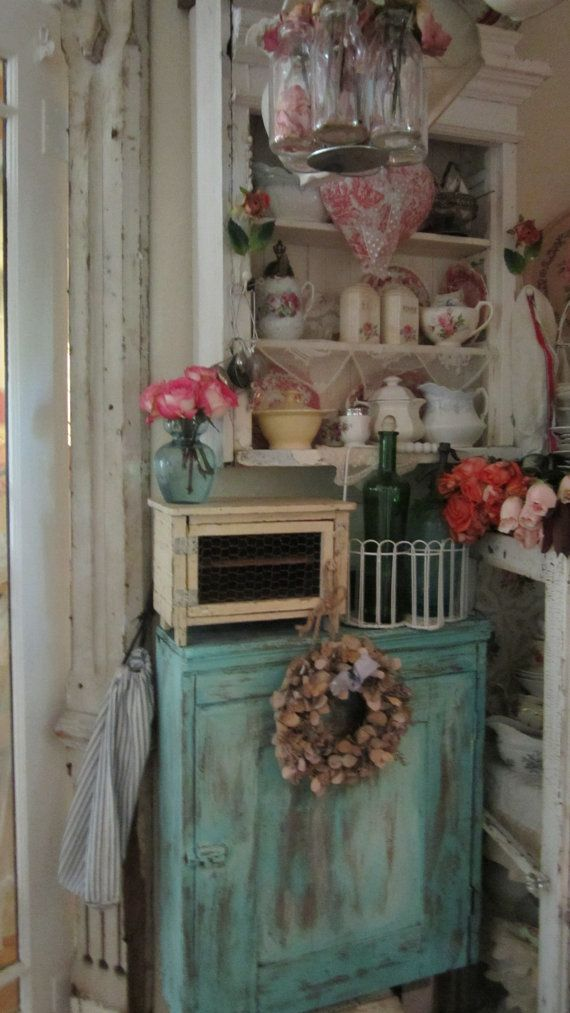 Vintage french cupboard chippy painted cream chicken wire shabby chic prairie