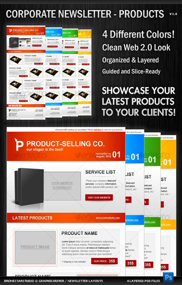 Corporate Newsletter Layout - Product Showcase Newsletter layout - business newsletter