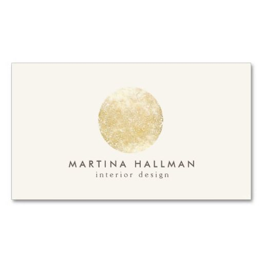 Abstract watercolor gold circle logo on ivory business card paper interior designer abstract decorative gold circle business card template fully customizable wajeb