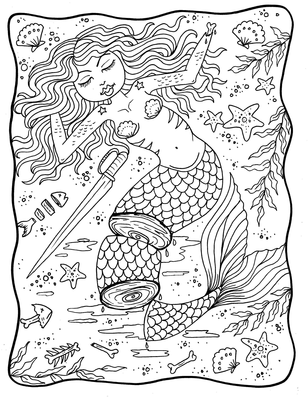Mermaid Nightmares Pdf Downloadable Printable Digital Coloring Book Mermads Sirens Halloween Scary Coloring Books Fairy Coloring Book Etsy Mermaid