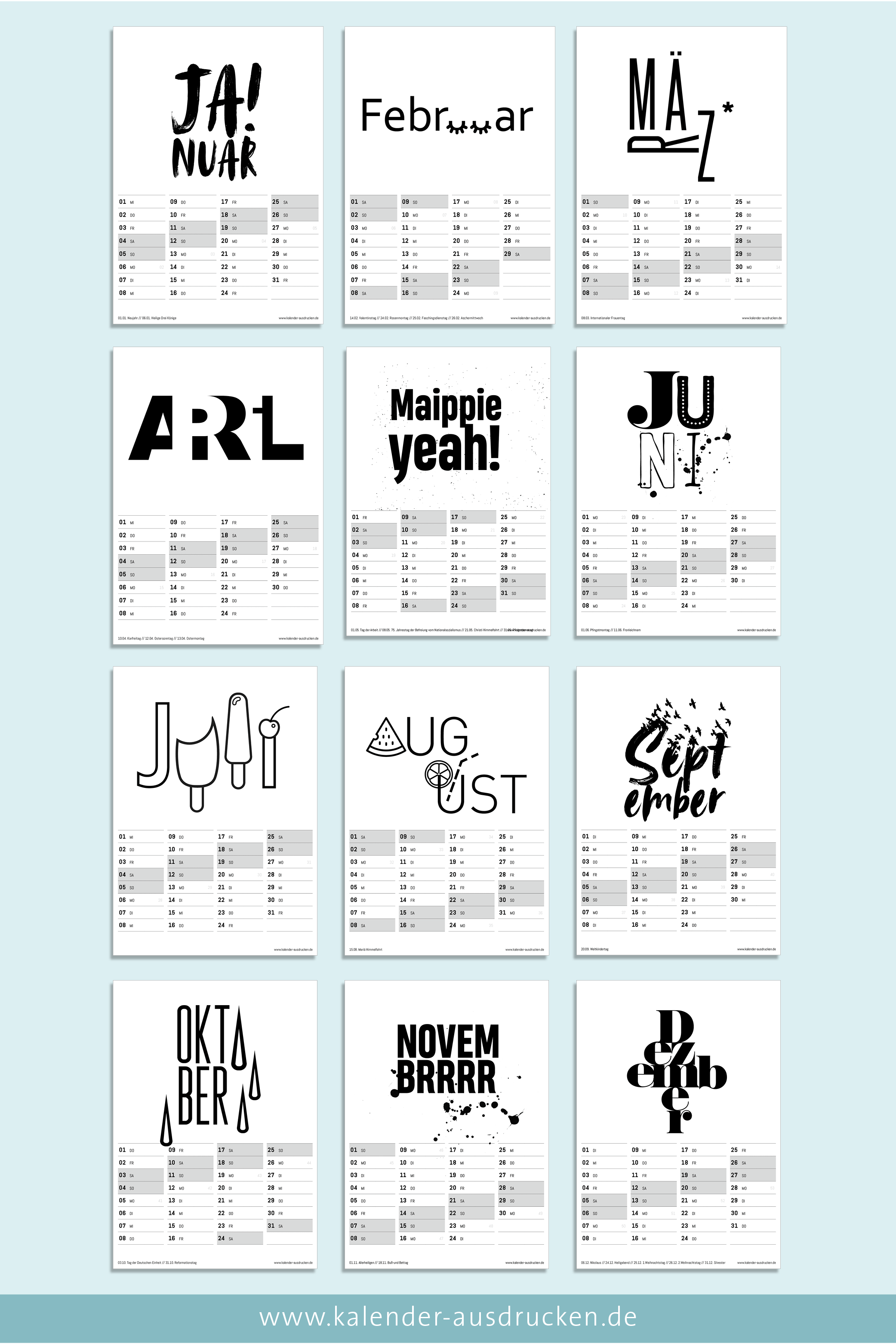 Wer Freude An Typografie Und Schwarz Weisser Deko Hat Wird Sich Uber Diesen Kalender Zum Ausdrucken Kalender Zum Ausdrucken Kalender Gestalten Kalender Design