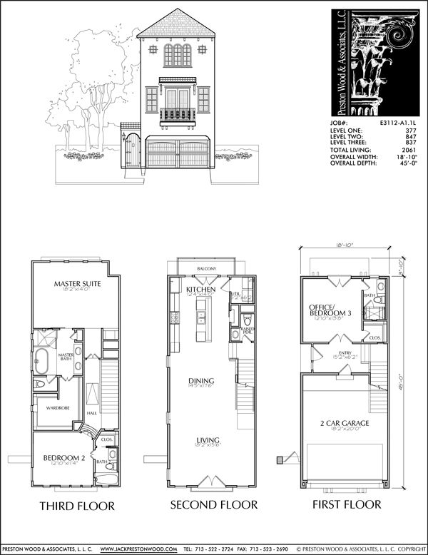 Three Story Townhouse Plan E3112 A1 1 Town House Floor Plan Narrow House Plans House Floor Plans