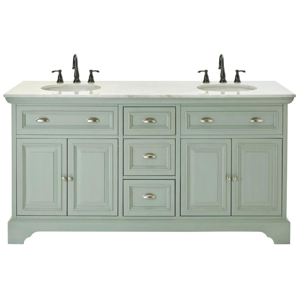 home decorators collection sadie 67 in double vanity in antique light cyan with marble vanity - Cyan Hotel Decorating