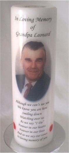 Personalized Wedding Memorial Candle Remember A Loved One On Your Wedding Day With A In
