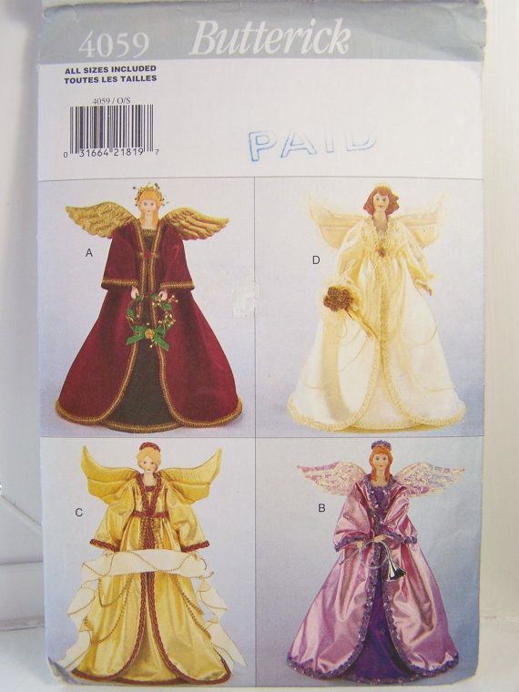 Butterick 4059 Craft Sewing Pattern, Decorative Angels, 14 ...