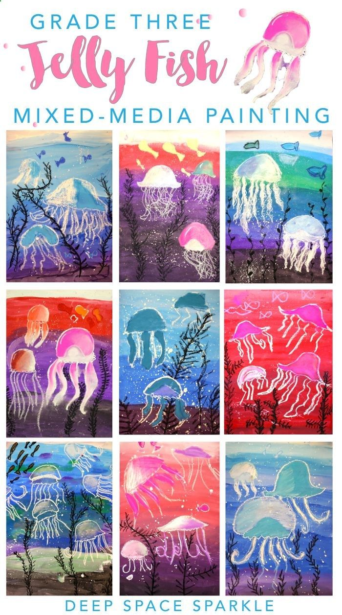 Jellyfish art project for boys and girls. Super easy drawing  painting project from Deep Space Sparkle
