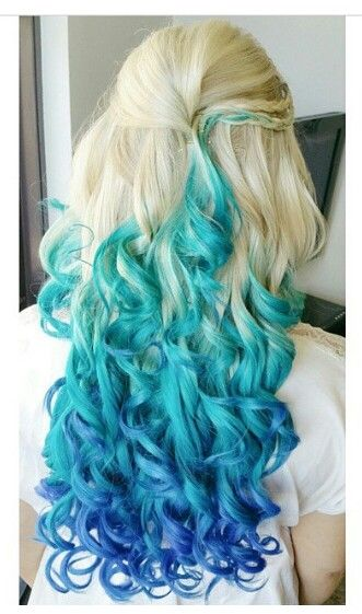 Two Toned Colored Hair: Blonde Turquoise Blue Two Tone Ombre Dyed Hair Color