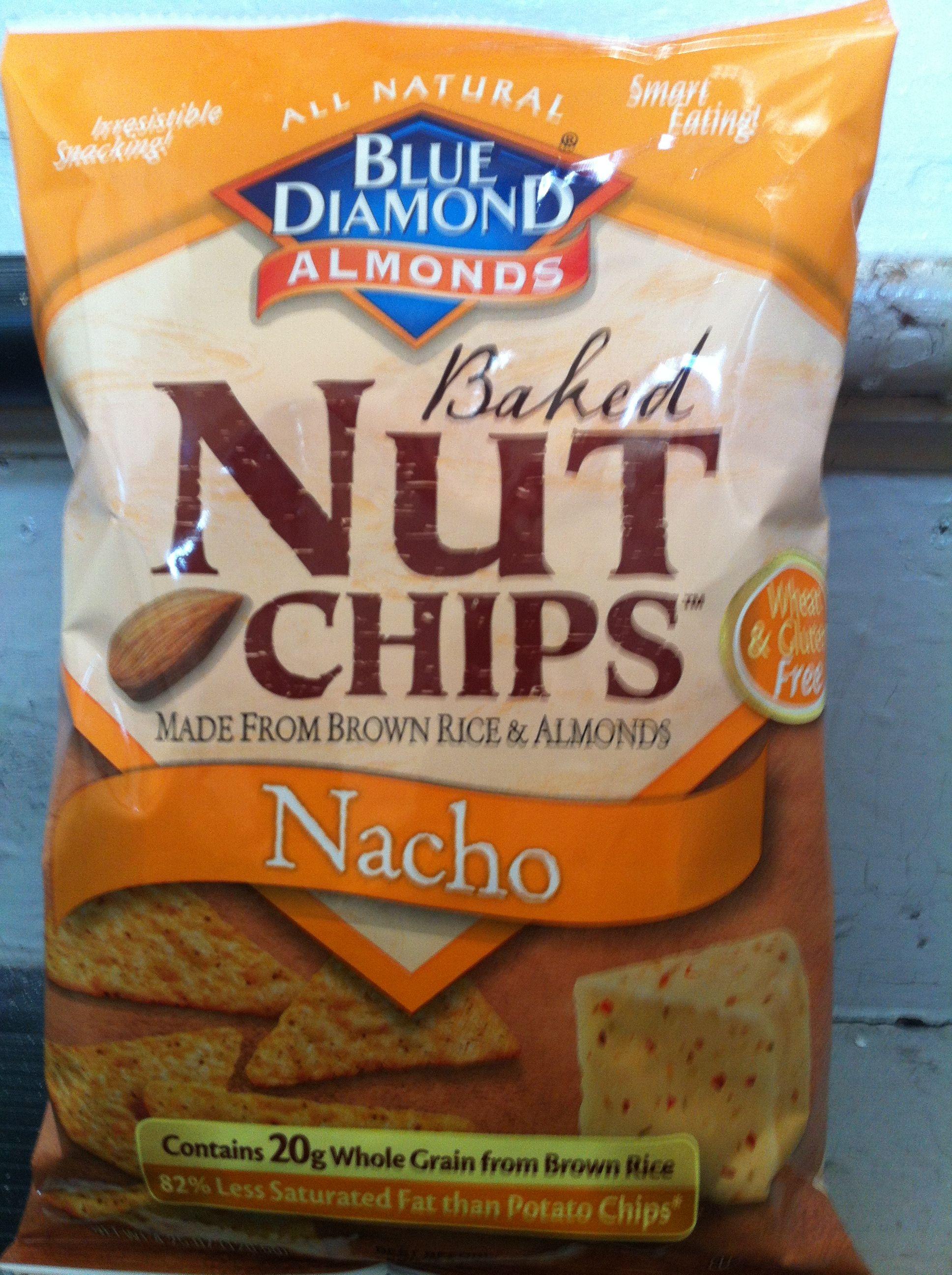 Blue diamond baked nut chips nacho food chips eat