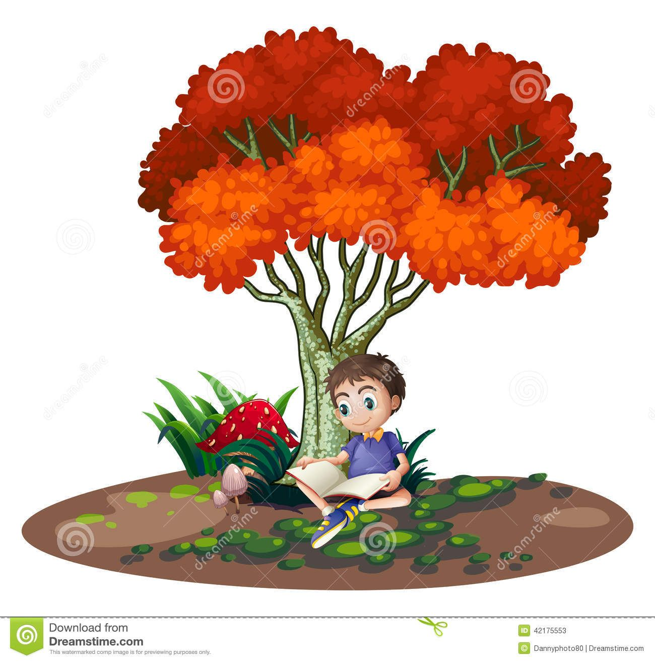 Boy reading book under tree stock photos images