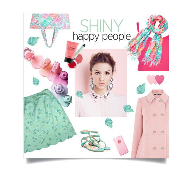 """""""Galentines Day look!"""" by groove-muffin ❤ liked on Polyvore featuring moda, Lilly Pulitzer, Oasis, Valentino, Josie Maran, shu uemura, Ted Baker, Sephora Collection, women's clothing y women"""