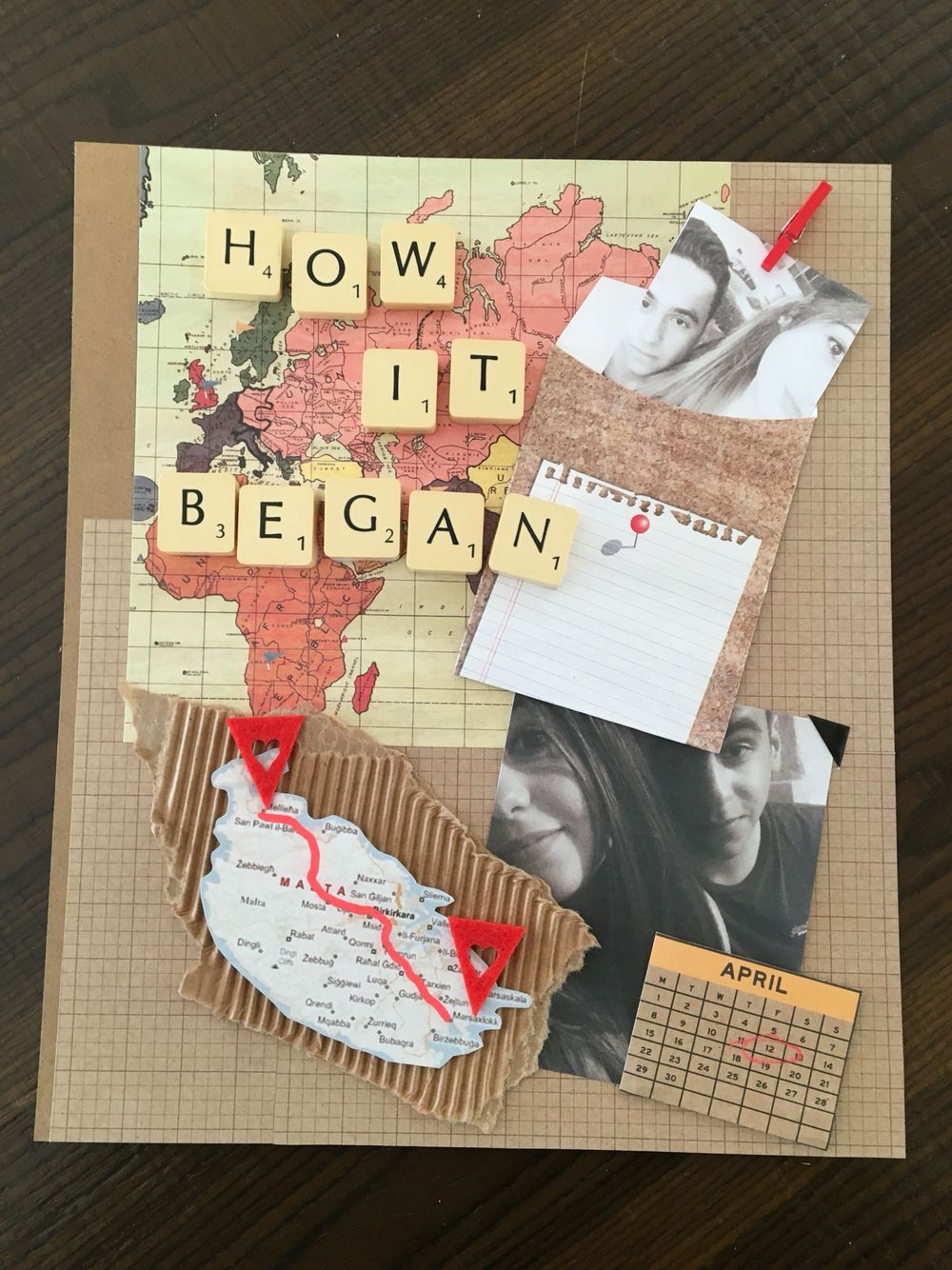 Making a scrapbook for our one year anniversary! Page one