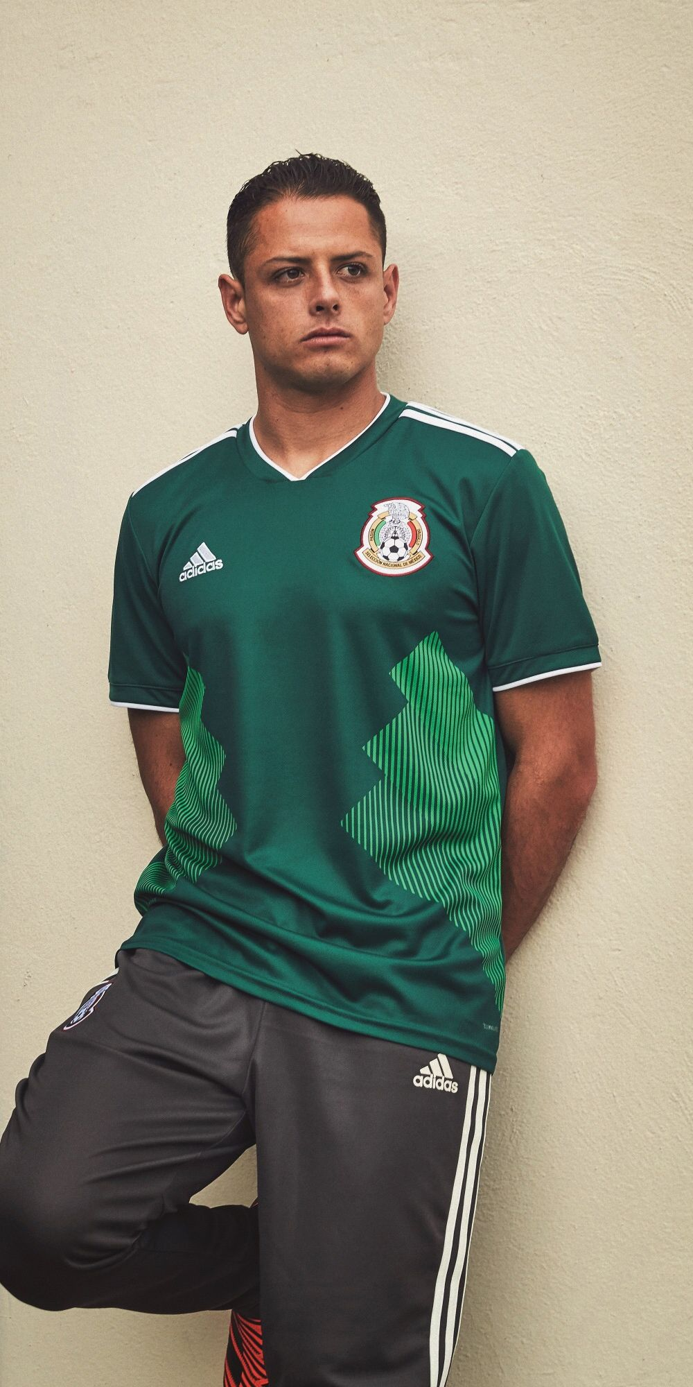 Chicharito in the adidas 2018 Mexico home jersey  2b80d267f