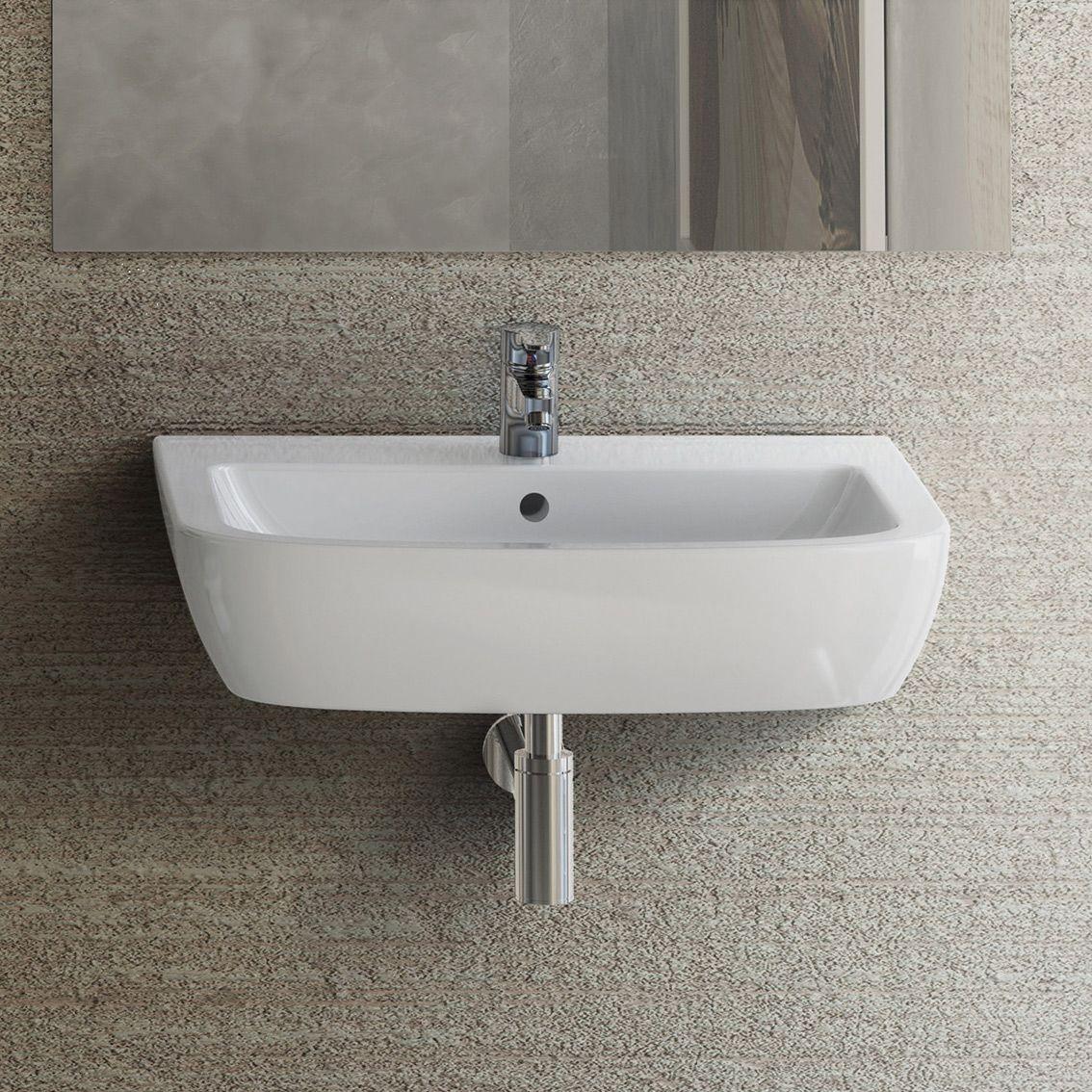 Ha una linea essenziale il lavabo sospeso Gemma 2 di Ceramica Dolomite in cer...