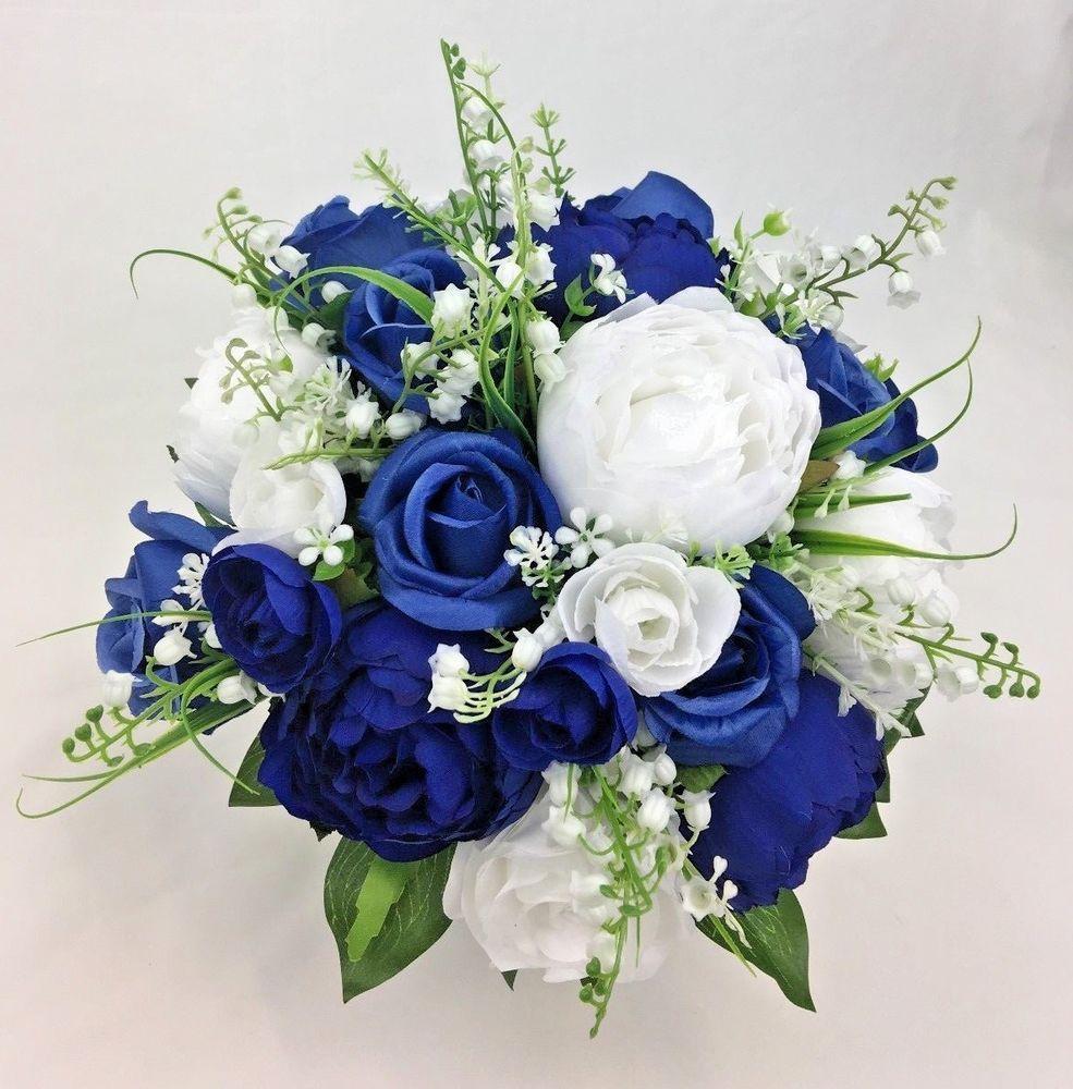 Artificial Flower Dark Blue White Roses Peony Flowers Bridal