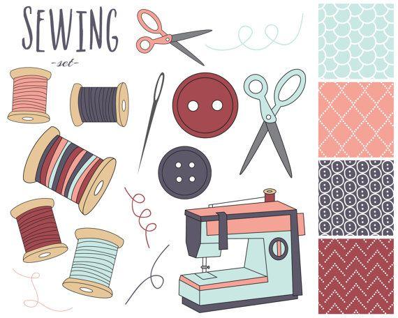 Sewing Digital Clipart Sewing Machine Clip Art Craft Clipart ...
