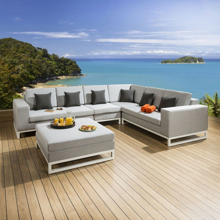 Luxury 6 Seater Outdoor Garden Corner Sofa Sunbrella Grey Fabric 3077 Outdoor Sofa Corner Sofa Outdoor Furniture Sets