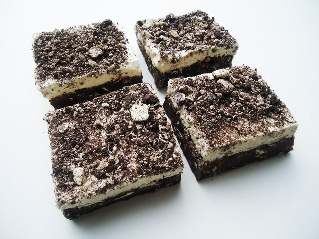 White fudge Oreo brownies with vanilla buttercream