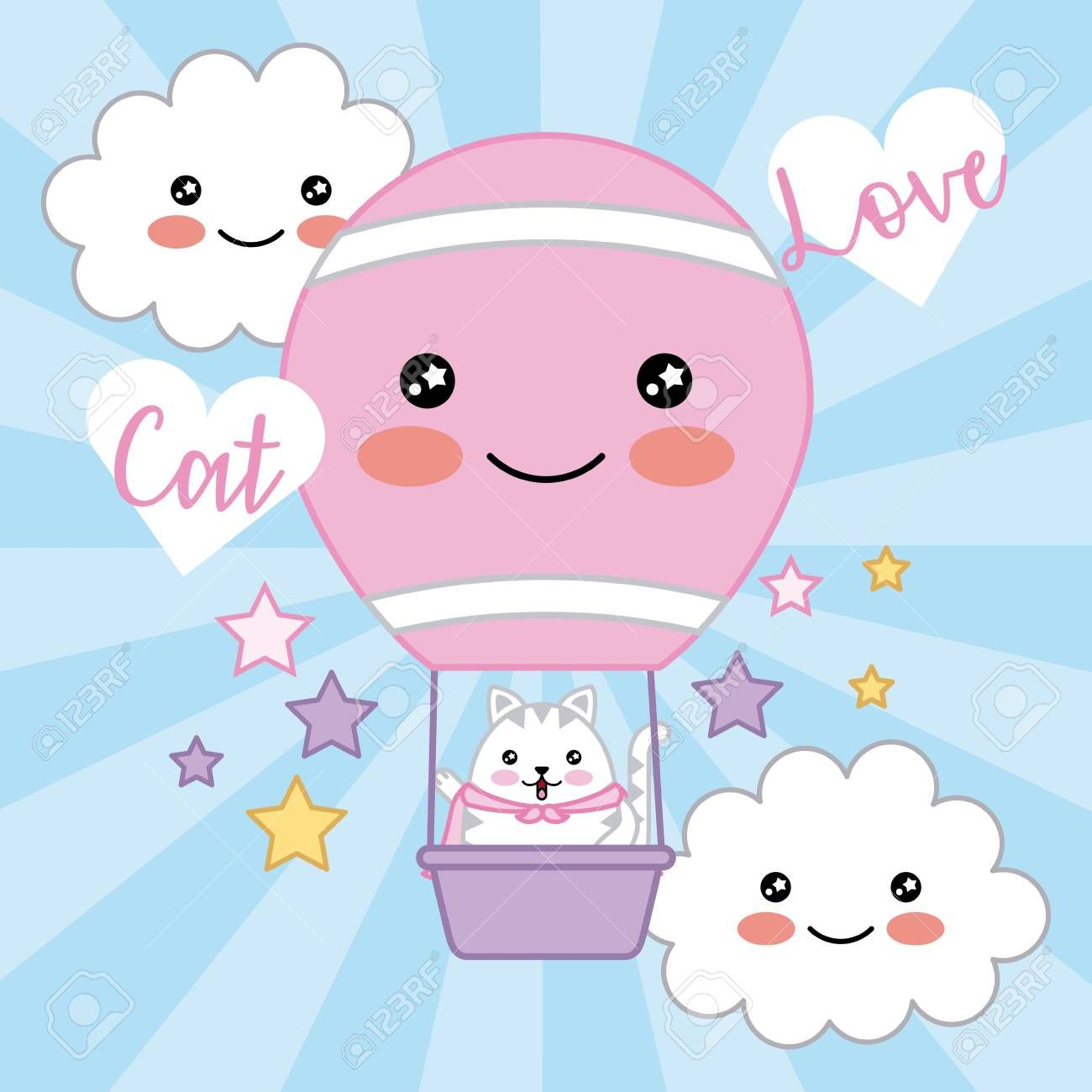 kawaii cat love air balloon clouds stars decoration vector illustration
