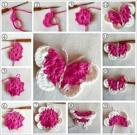 Butterfly step by step | Crochet | Pinterest | Häkeln, Anstecker und ...