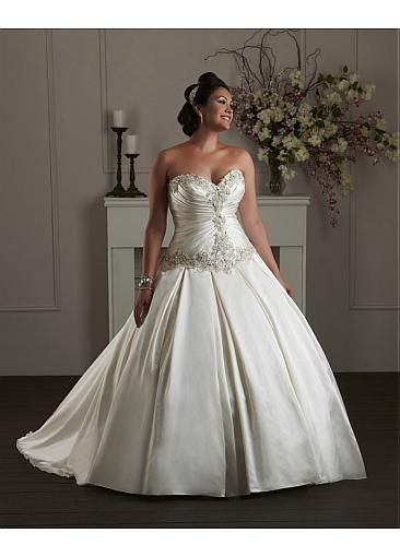 Fabulous Satin Sweetheart Neckline Basque Waistline Ball Gown Plus Size Wedding Dress