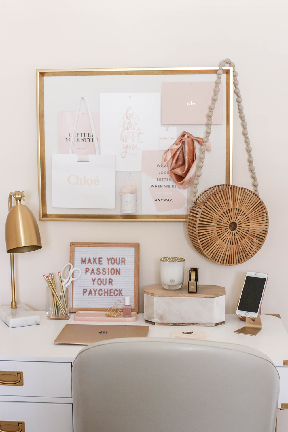dusty rose and gold office tour  gold büro