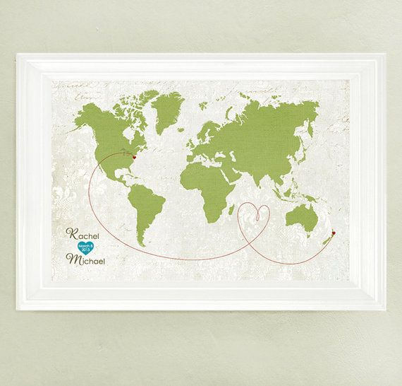 Wedding map map wedding gift guest book alternative world map custom wedding map map wedding gift guest book alternative world map vintage style map sizes 5x7 up to 42x70 gumiabroncs Images