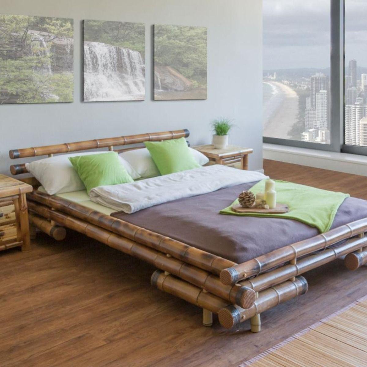 Lit 160x200 Cm En Bambou Brun Cielterre Commerce Lit Bambou Lit 160x200 Idee Deco Bambou