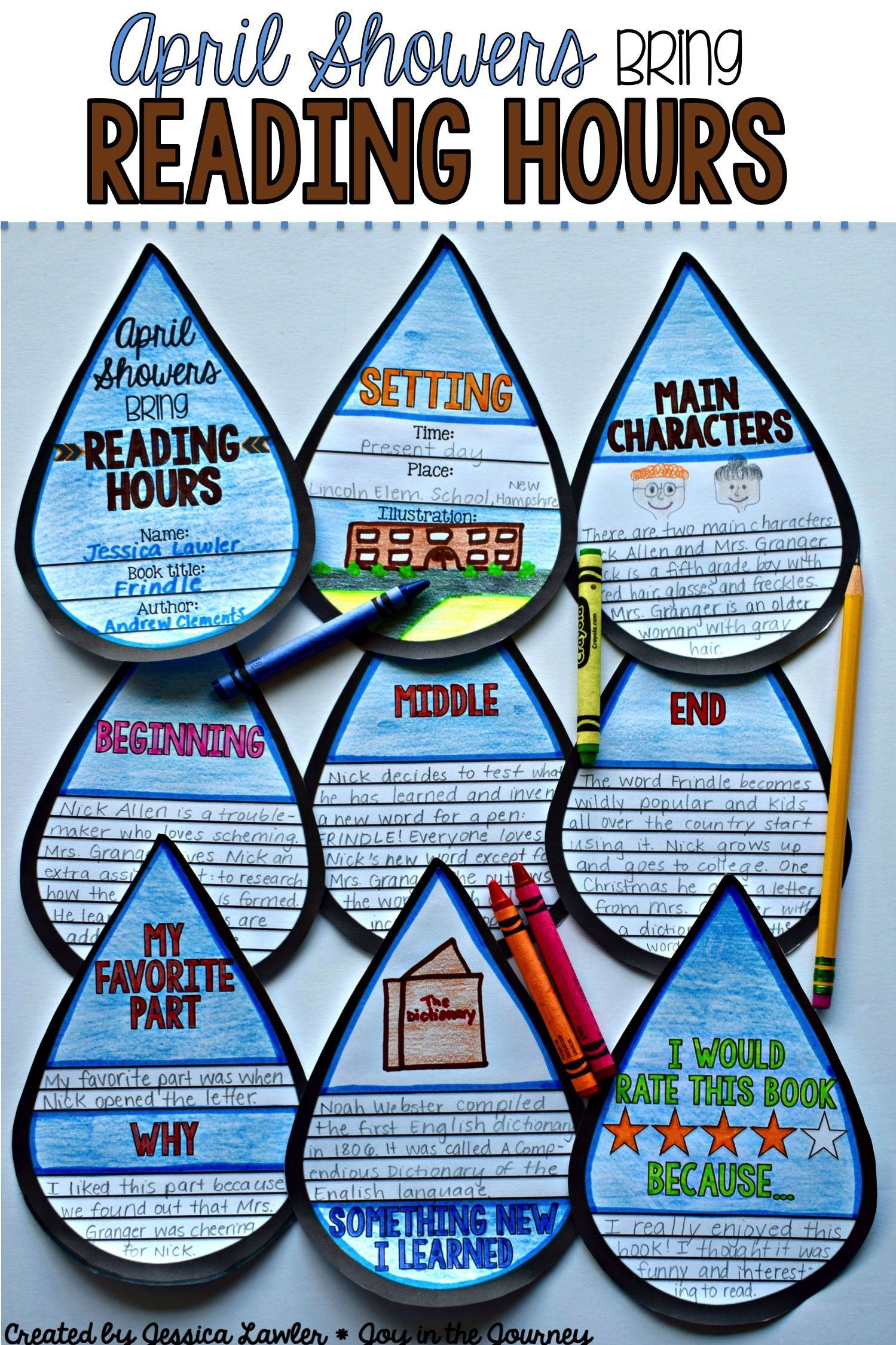 "We all know the adage ""April Showers Brings May Flowers"" - well this is a fun twist on the expression that can be used to motivate students to read and deepen their comprehension and re-telling skills. ""April Showers Bring...Reading Hours"" is a fun and engaging resource that includes everything you need to assign, complete, and assess a project that can be used with ANY BOOK! (picture book or chapter book) Resource created by Jessica Lawler @ Joy in the Journey"