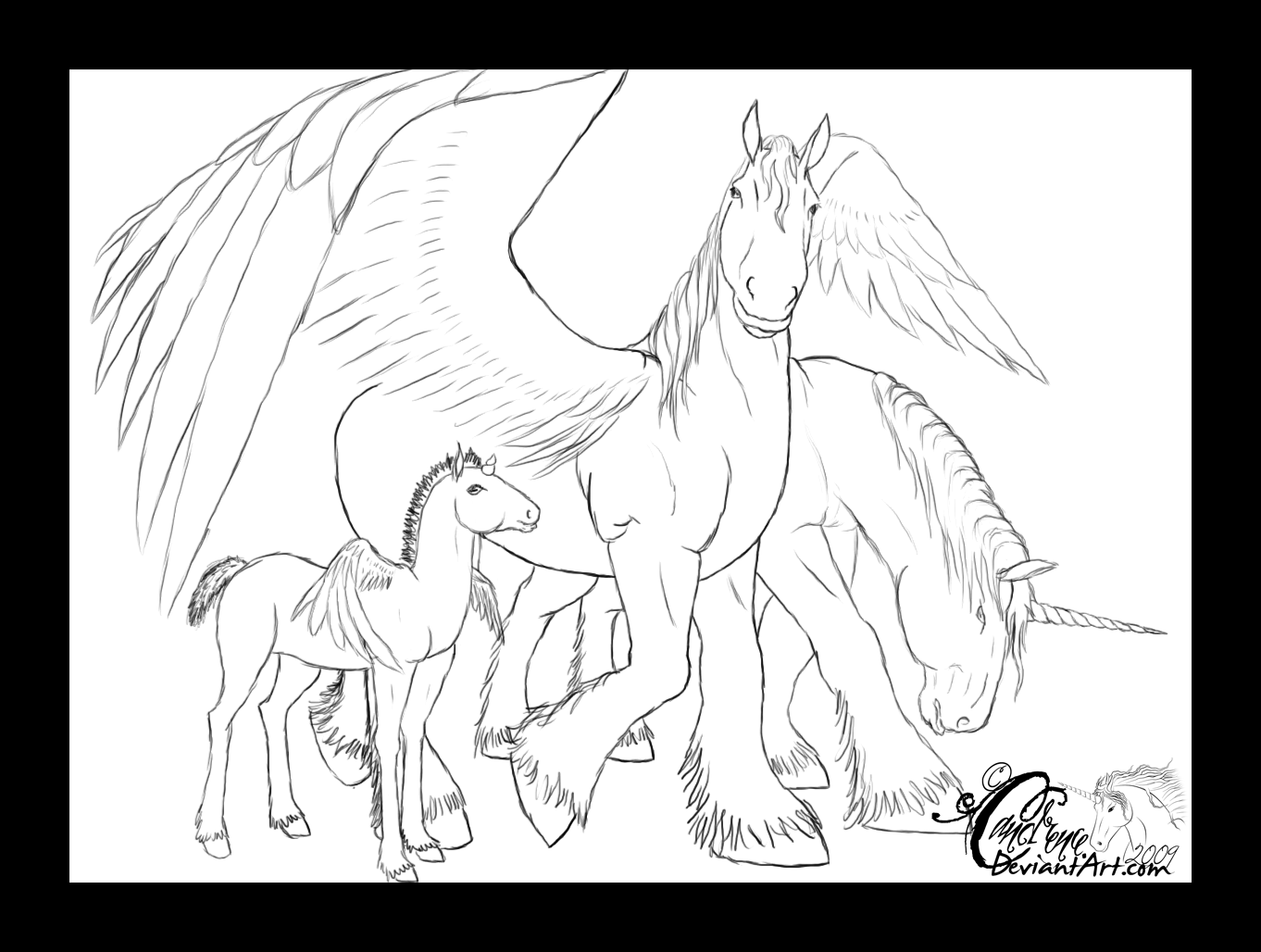 Pegasus Family Line Art By Candrence On Deviantart Line Art Art Coloring Book Pages [ 1028 x 1362 Pixel ]
