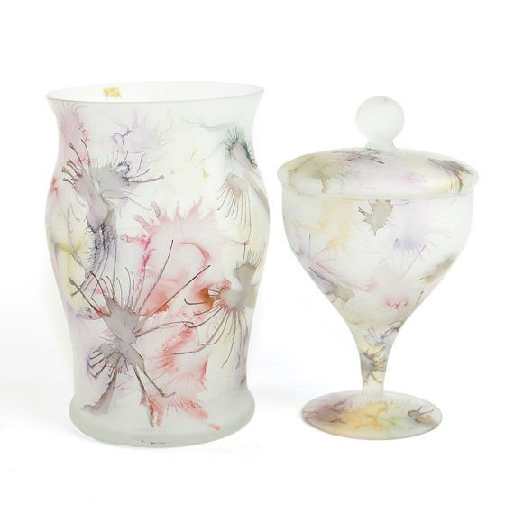 Vintage oriental frosted glassware