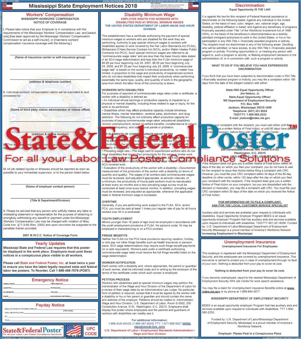 Mississippi State Labor Law Poster 2019 State & Federal