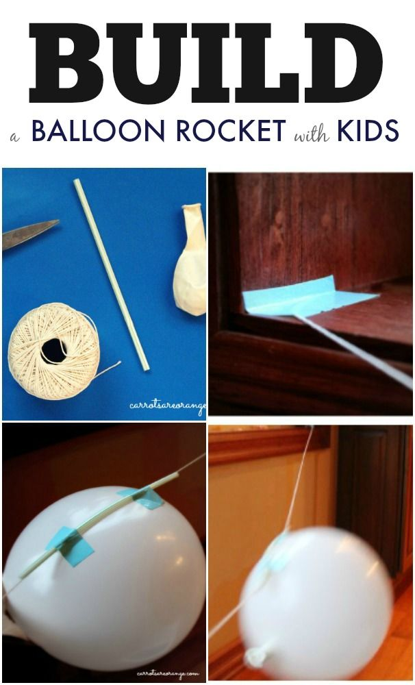 Build a Balloon Rocket with Kids from Carrots Are Orange! Introduce physics to your kids with this awesome activity!  Such a fun and easy way to integrate science learning into the home and classroom! #montessori #stem #ece
