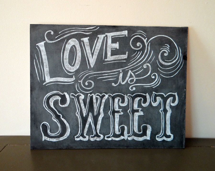 Candy Buffet Sign - Vintage Wedding Chalkboard  - Shabby Chic Sign- Love Is Sweet Sign - Wedding Chalkboard. $69.00, via Etsy.