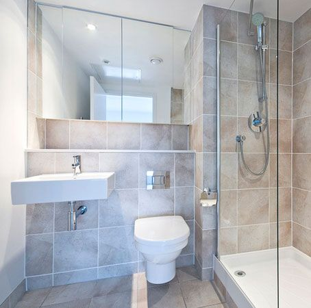 Look at use of space toilet with hidden cistern which has enabled creation of shelf handy for - Small bathroom design ideas for maximum utilization of small space ...