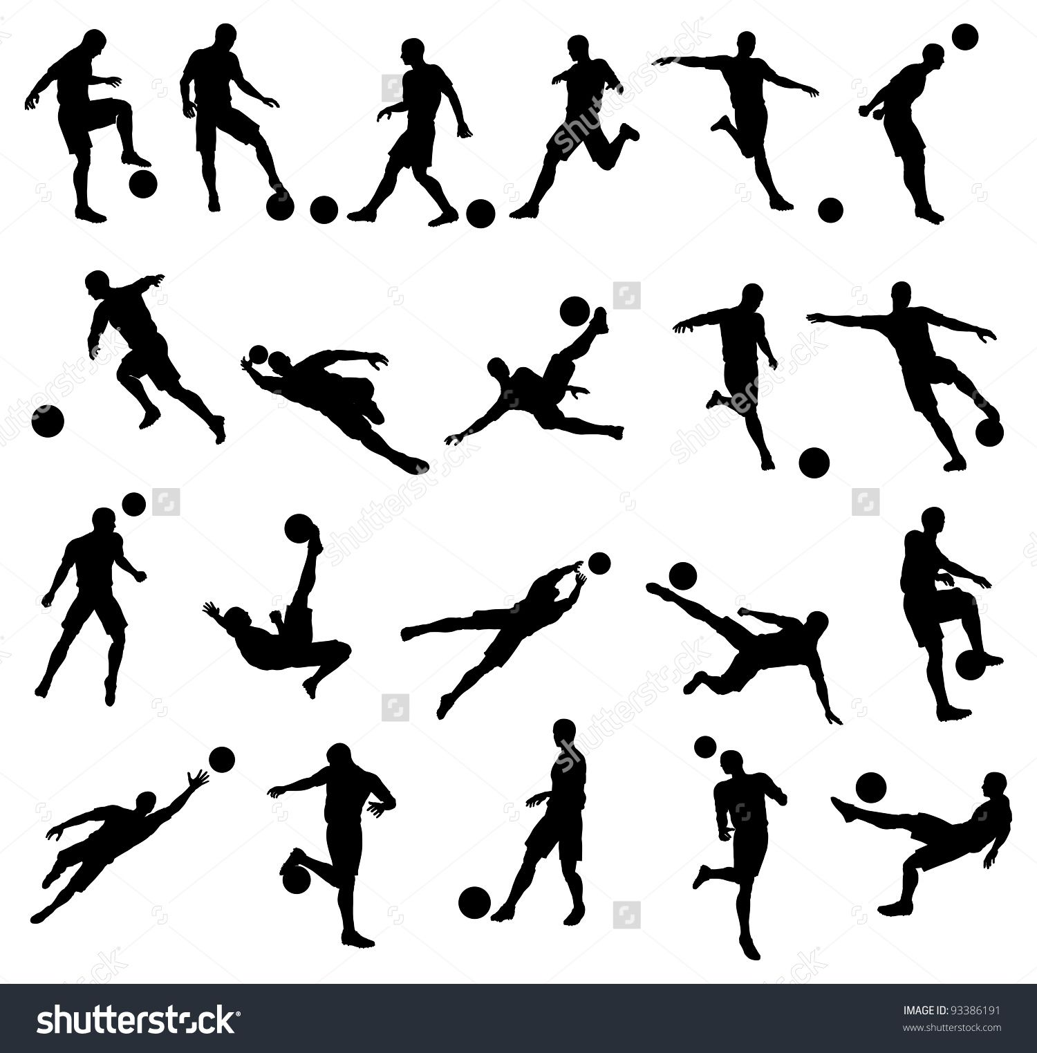 Very High Quality Detailed Soccer Football Player Silhouette Cutout Outlines Tatuajes Futboleros Tatuajes Futbol Tatuajes De Acuarela