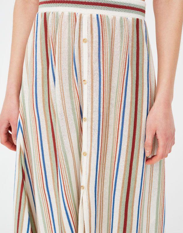 Falda midi a rayas con botones - Faldas - Ropa - Mujer - PULL BEAR España eb65969a86af