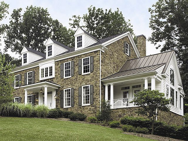 Stone Colonial With White Door