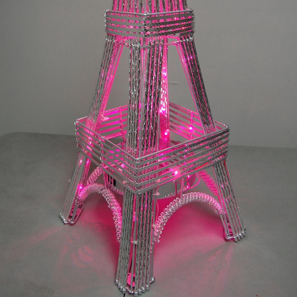 Tall LED Light Paris Eiffel Tower Metal Statue Centerpiece, 36 Inch, Multi