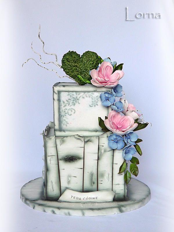 Birch Bark Birthday Cake by Lorna
