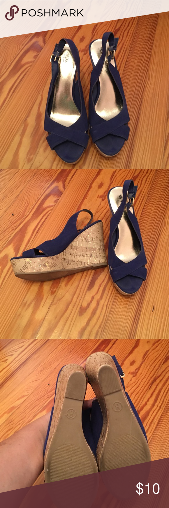 Wedge sling back sandals Royal blue sling back sandals with cork heel. Target brand. Really cute . Mossimo Supply Co Shoes Wedges