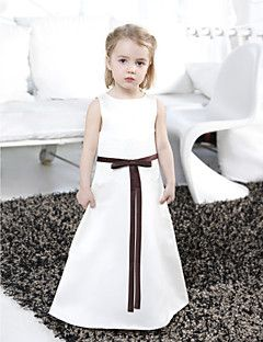 LAN+TING+BRIDE+A-line+Princess+Floor-length+Flower+Girl+Dress+-+Satin+Bateau+with+Bow(s)+Lace+Sash+/+Ribbon+–+USD+$+175.00