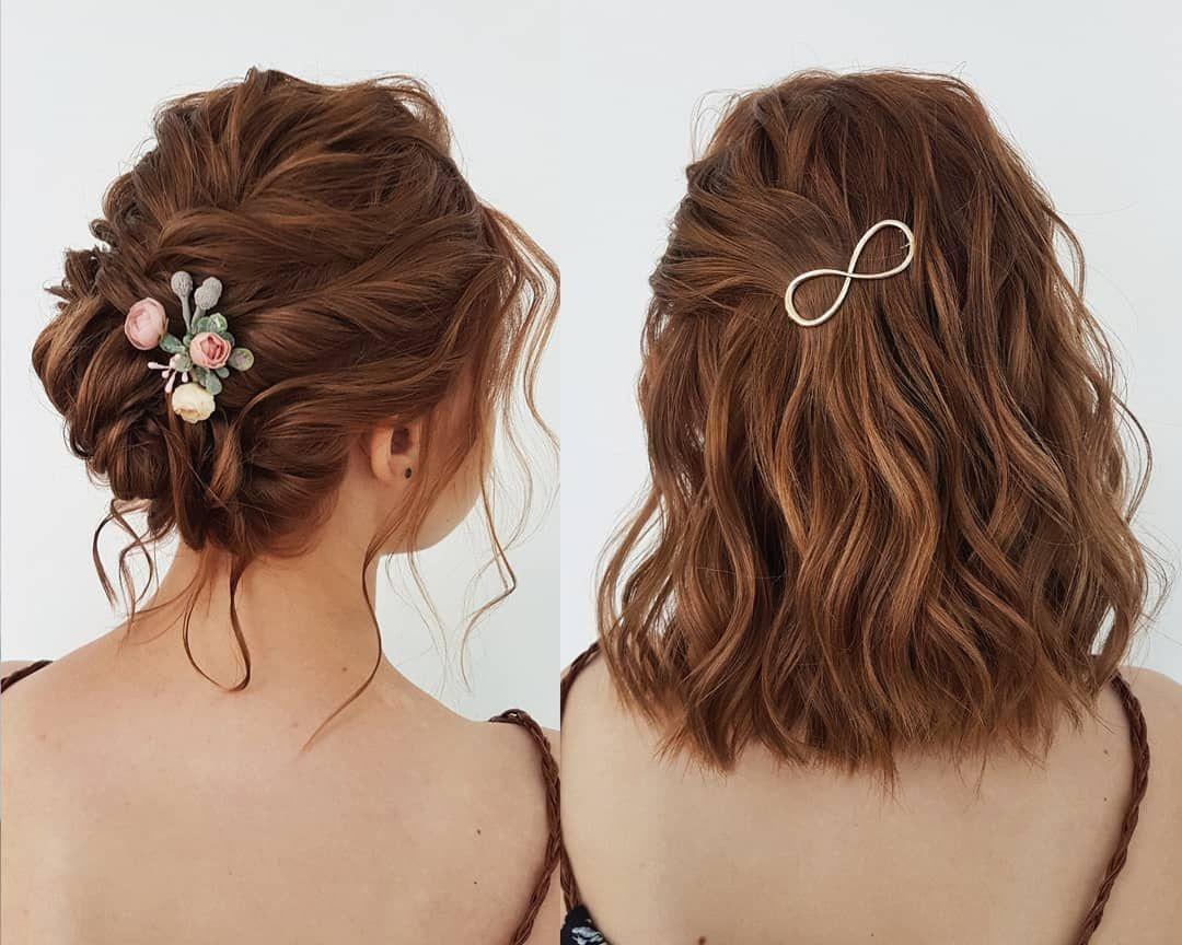 Wunderschöne Hochzeit Frisuren Für Braune Lockige Bob Kurze Haare