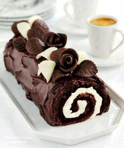 Moist fudge chocolate swiss jelly roll cake, stuffed with ...