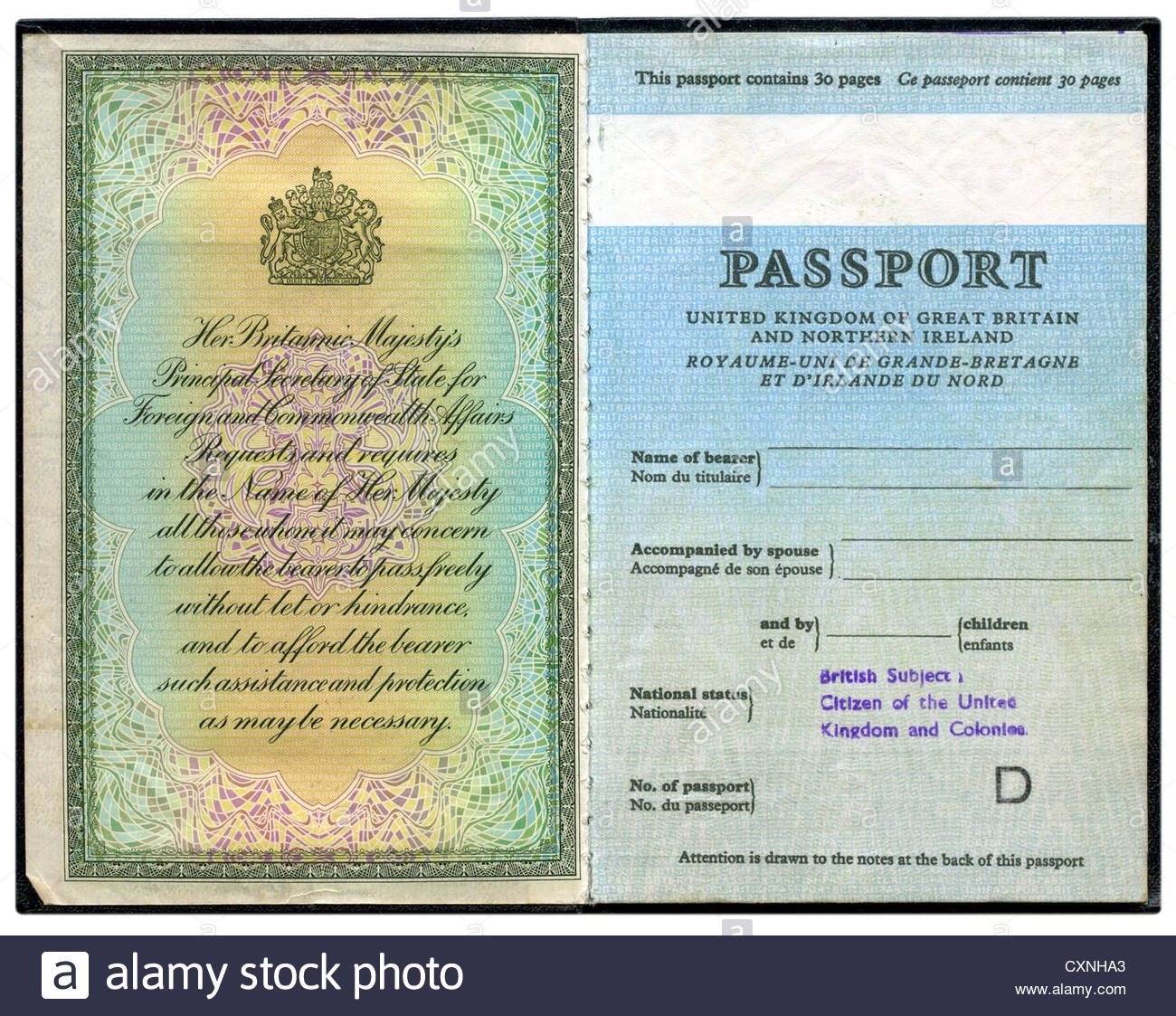Download This Stock Image Old British Passport Cxnha3 From Alamy S Library Of Millions Of High Resolution Stock Photos Illustrations And Vectors