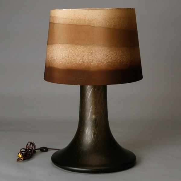 Mid century brown art glass lamp with original striped shade for sale on circa brown glass table lamp has a thick pedestal shape with an earth tone striped shade keyboard keysfo Image collections