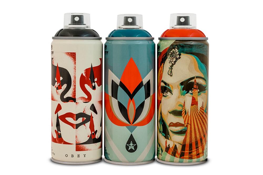 Shepard Fairey Designs 3 Montana Spray Paint Cans With Beyond The Streets Spray Paint Cans Shepard Fairey Shepard Fairey Art