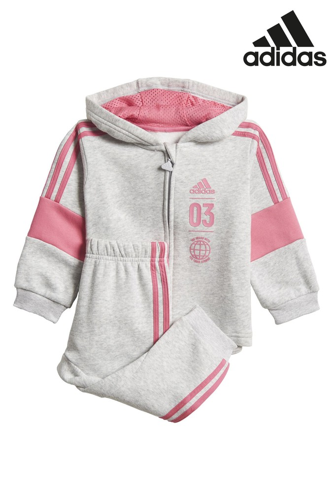 2429dc3c22ca1 Girls adidas Gym Grey Fleece Jogger Set - Grey in 2019